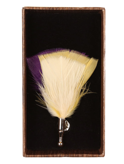 DÉCLIC Tri Colour Feather Lapel Pin - Purple