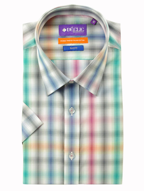 DÉCLIC Shadow Short Sleeve Check Shirt - Pink
