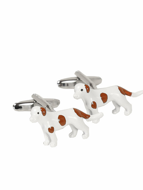 DÉCLIC Dog (Painted) Cufflink - Silver