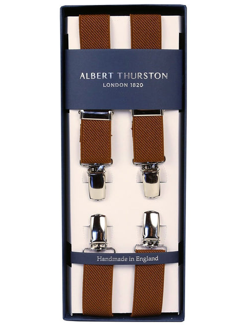 AT Ribbed 2.5cm Clip Braces - Brown