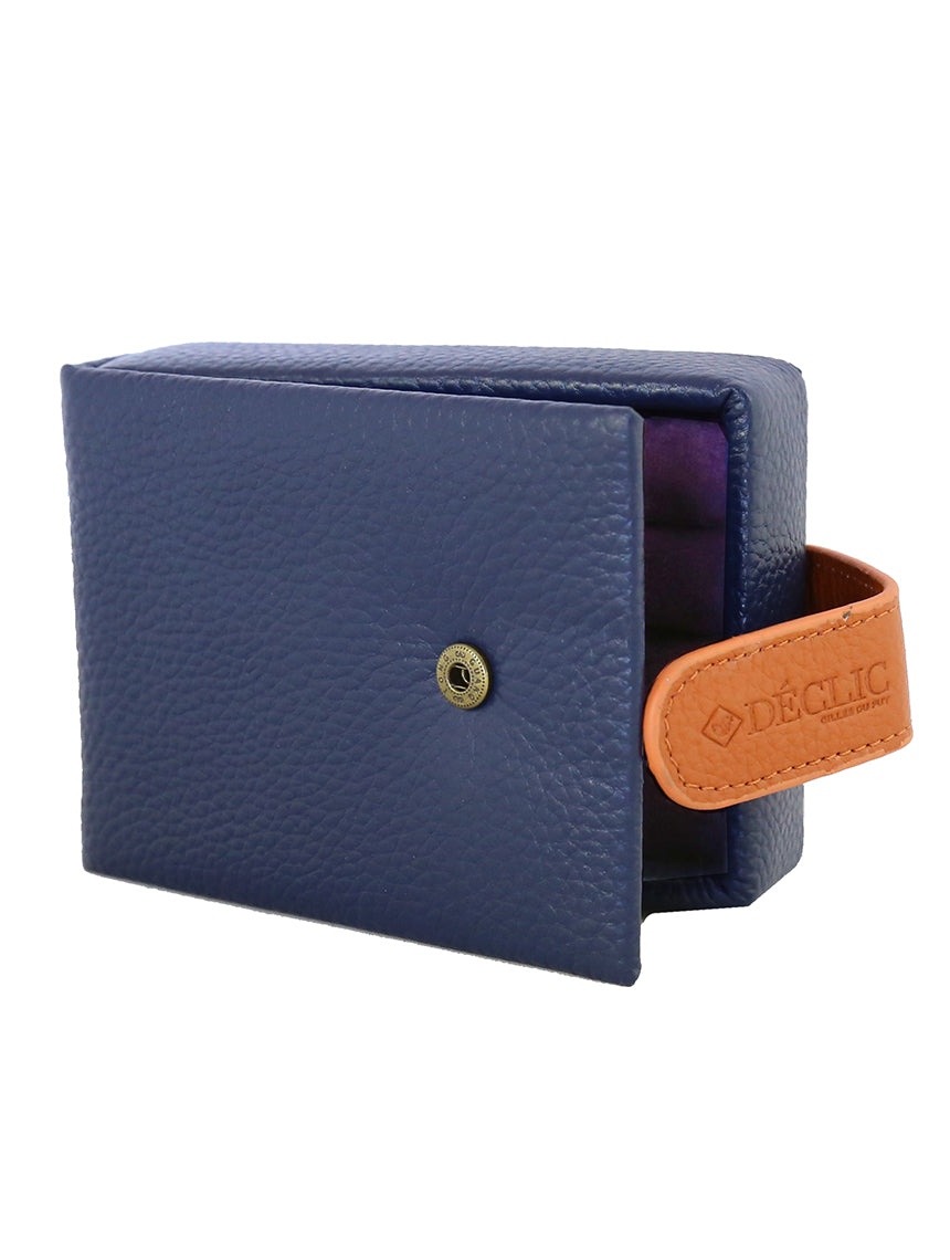 Travel 2-Tone Small Cufflink Storage Box - Blue