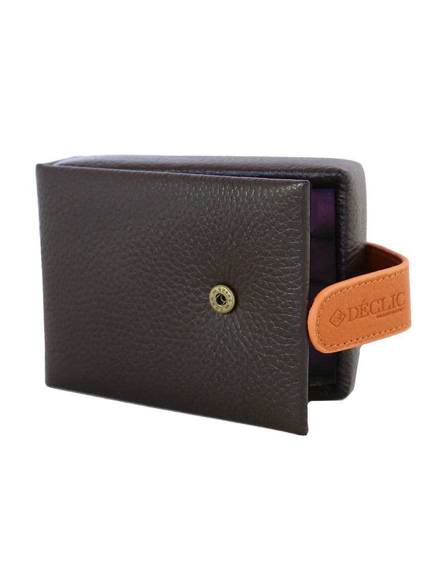 Travel 2-Tone Small Cufflink Storage Box - Brown