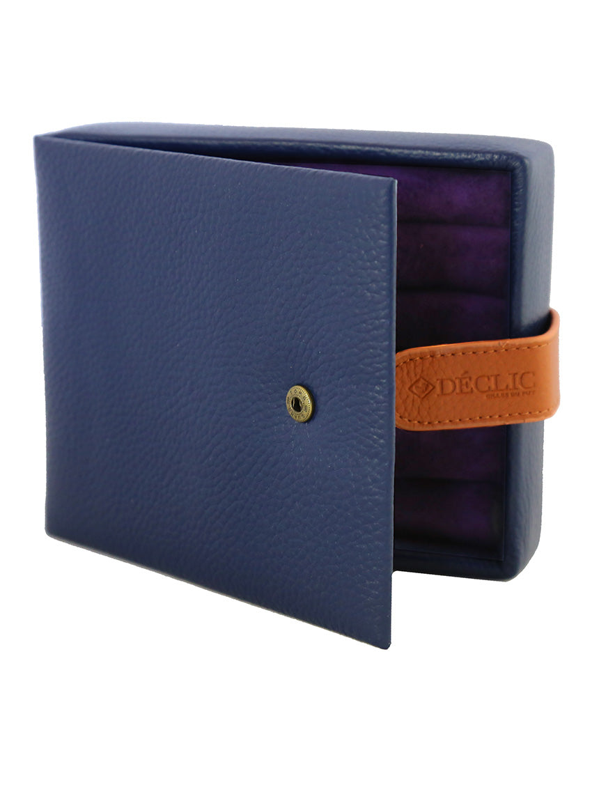 Travel 2-Tone Cufflink Storage Box - Blue