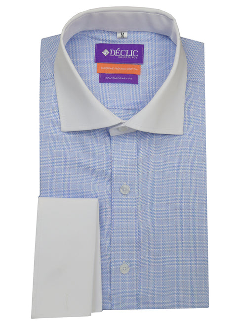 DÉCLIC Matera 2-Tone Check Shirt - Blue