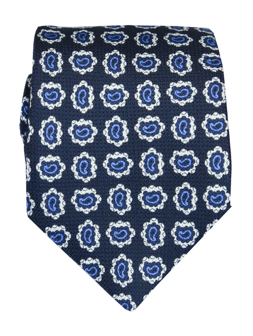 DÉCLIC Paisley Drop Tie - Navy/Blue