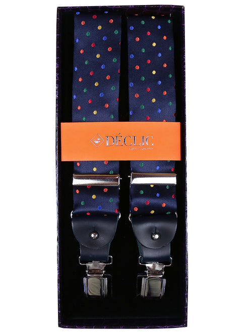 DÉCLIC 2-in-1 Dapper Spot Silk Button/Clip Bracess - Navy