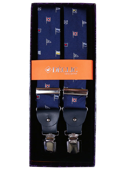 DÉCLIC 2-in-1 Nautical Flags Silk Button/Clip Braces - Navy