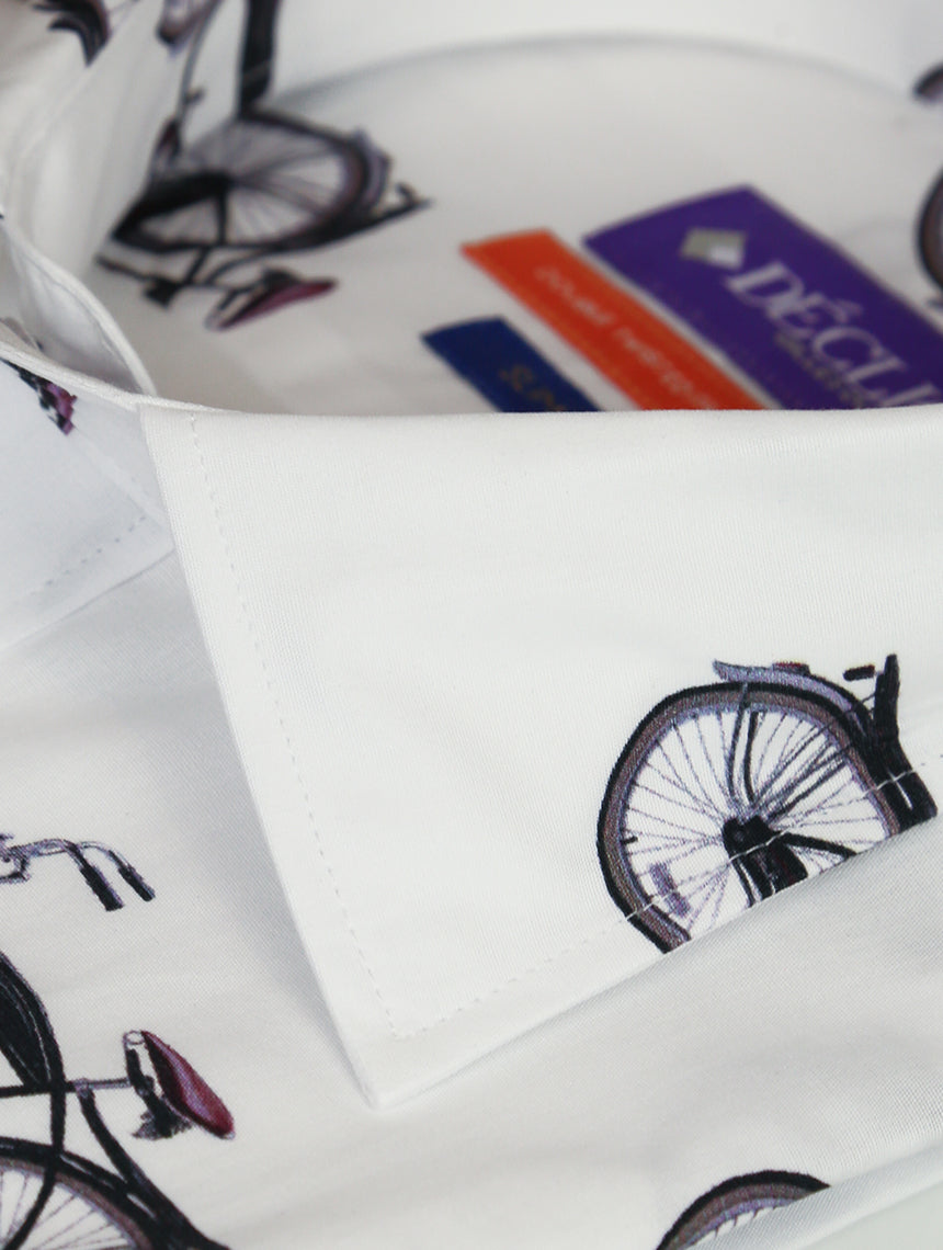 DÉCLIC Bicycle Racer Print Shirt - White