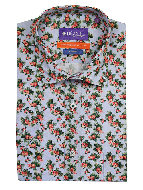 DÉCLIC Pineapple Print Short Sleeve Shirt - Blue
