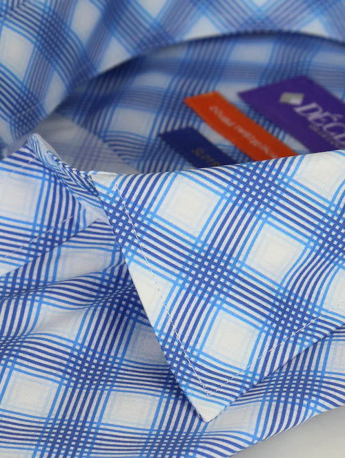 DÉCLIC Renner Check Print Short Sleeve Shirt - Blue