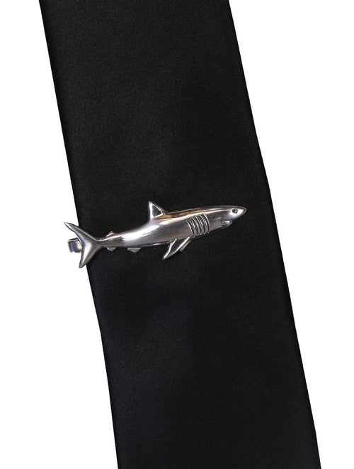 DÉCLIC Great White Shark Tie Bar - Sterling Silver