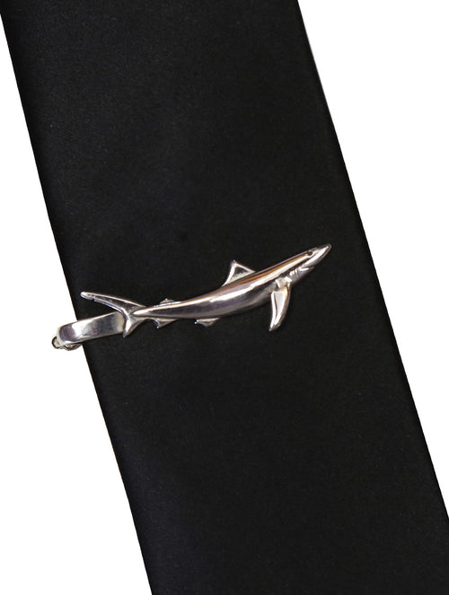 DÉCLIC Blue Shark Tie Bar - Sterling Silver