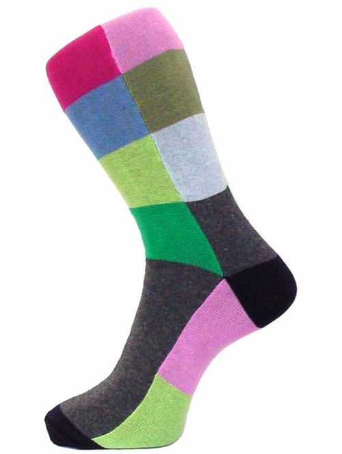 DÉCLIC Large Multi Square Socks - Green (15 Year Sock Anniversary Re-release)