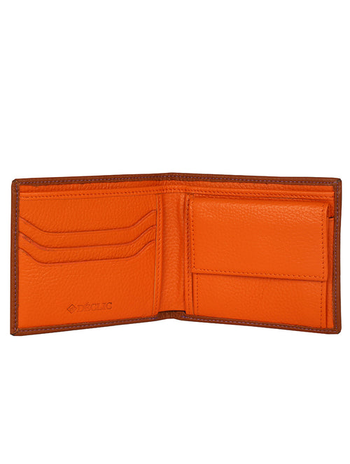 DÉCLIC Block Bi-Fold Wallet - Tan-Orange