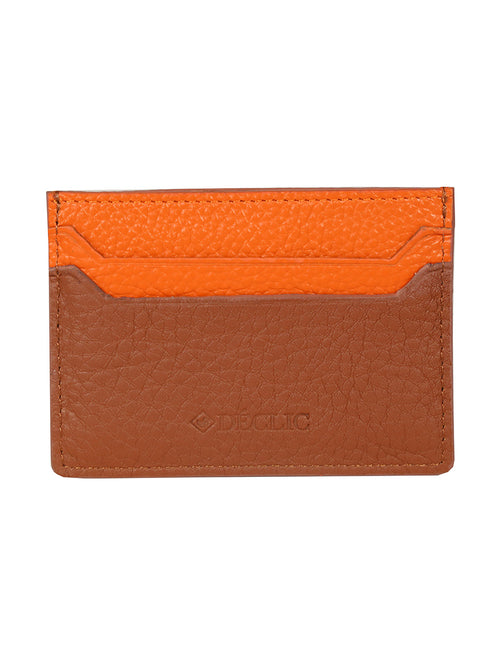 DÉCLIC Block Reverse Credit Card Wallet - Tan-Orange