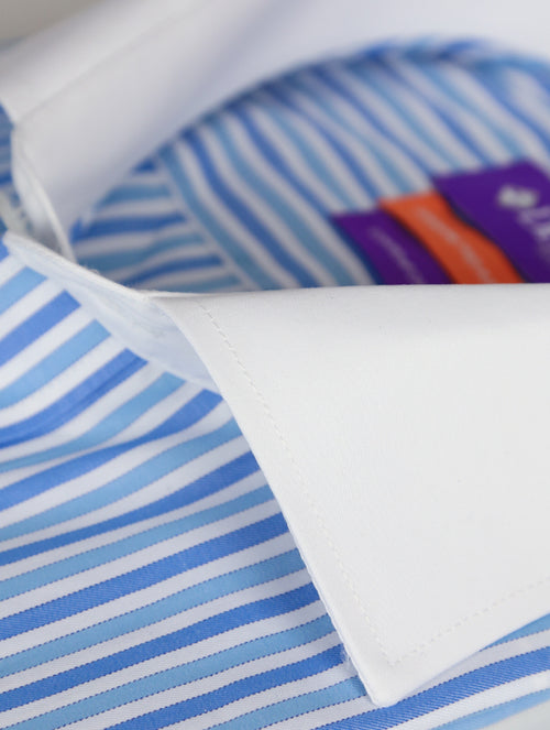 DÉCLIC Stroud 2-Tone Stripe Shirt - Blue