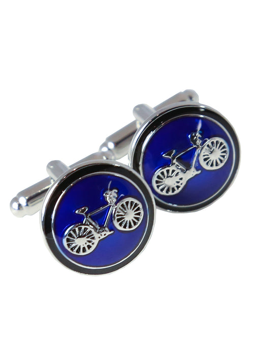 DÉCLIC Bicycle Round Cufflink - Blue