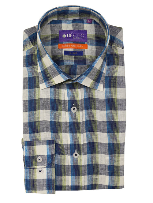 DÉCLIC Dougal Check Linen Shirt - Green
