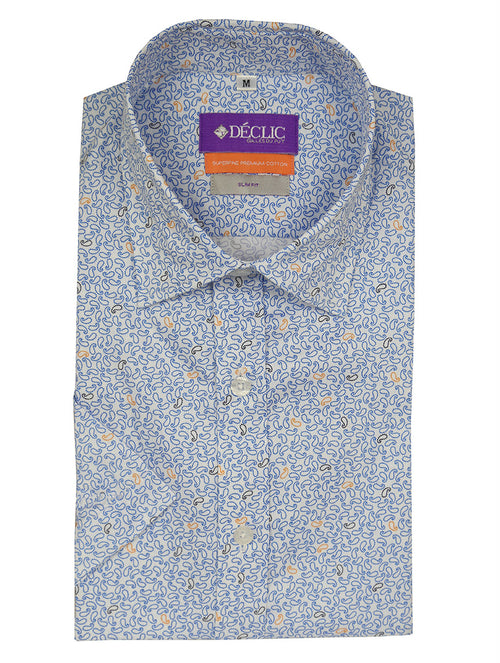 DÉCLIC Peizuri Print Short Sleeve Shirt - Blue