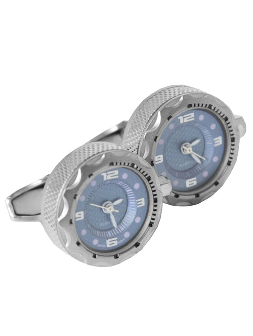 DÉCLIC Watch Luxury Cufflink - Blue/Silver