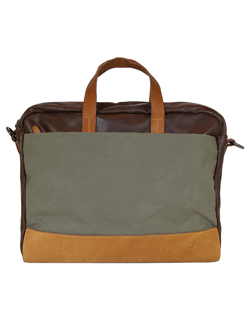 OF Briefcase Leather/Canvas - Brown