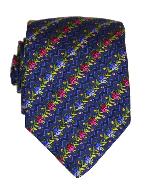 DÉCLIC Floral Line Tie - Navy/Green