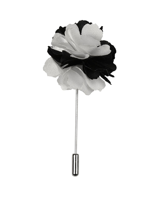 DÉCLIC Flower Lapel Pin - White/Black