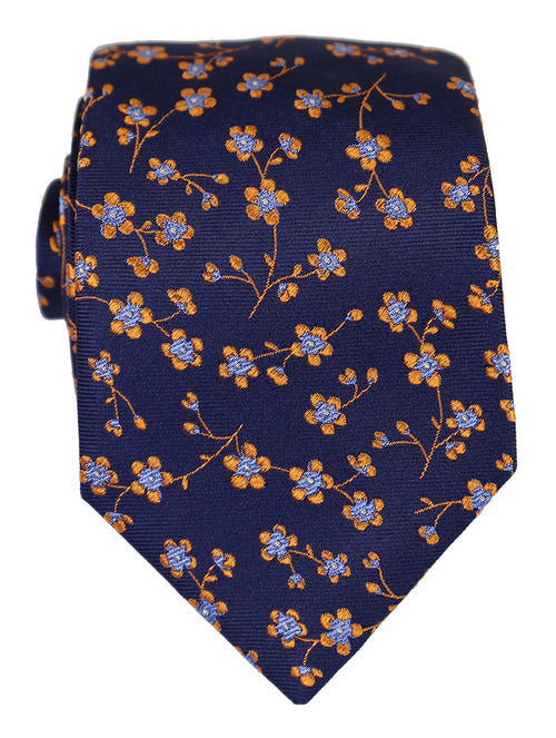 DÉCLIC Cadena Floral Tie - Navy/Orange