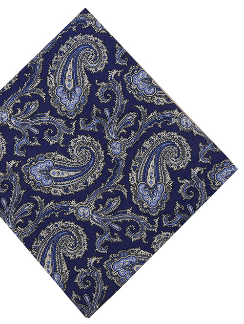 DÉCLIC Lodia Paisley Pocket Square - Navy