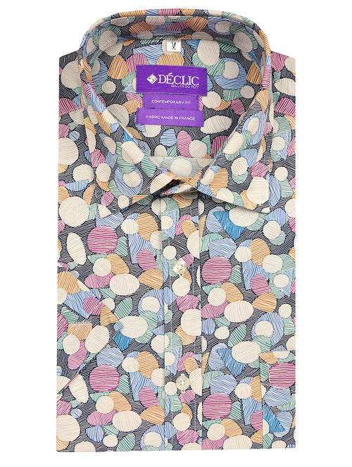 DÉCLIC Cluster Print Short Sleeve Shirt - Assorted