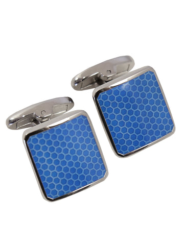 Multi-Check Square Cufflink - Silver