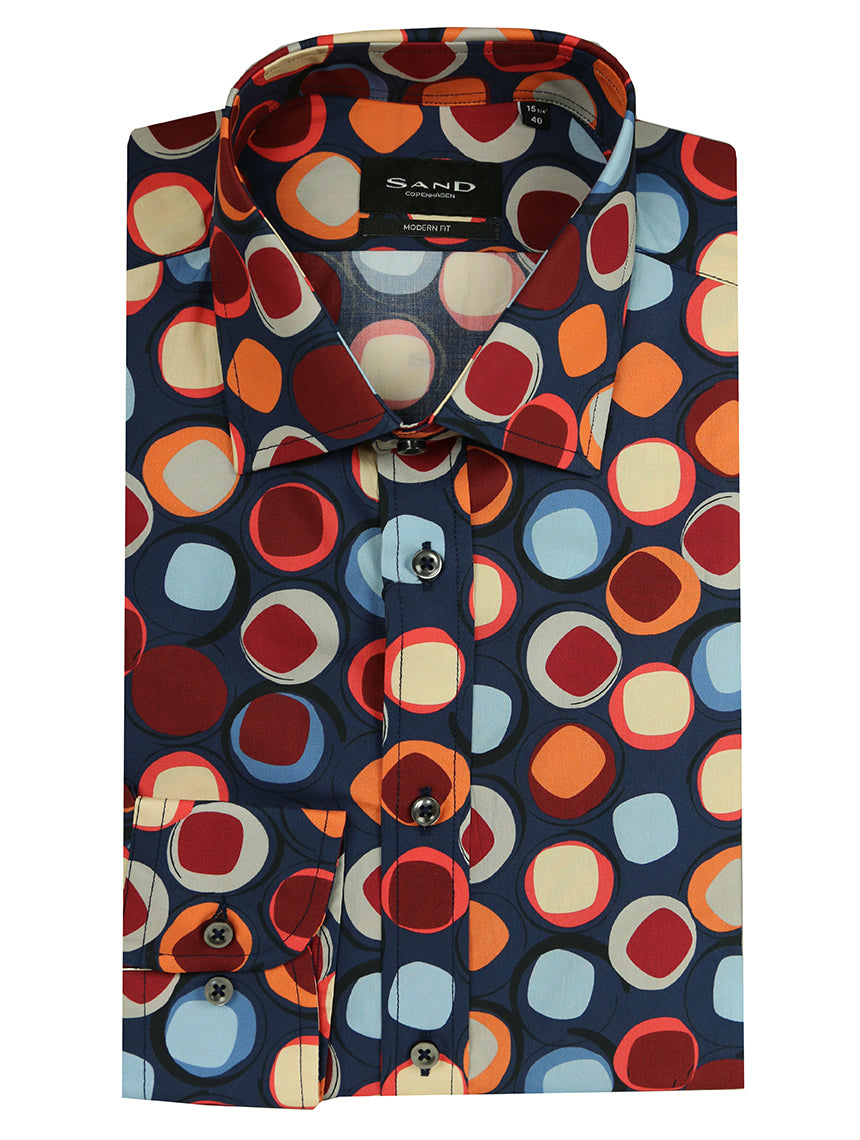 SD Retro Circle Print Shirt - Assorted