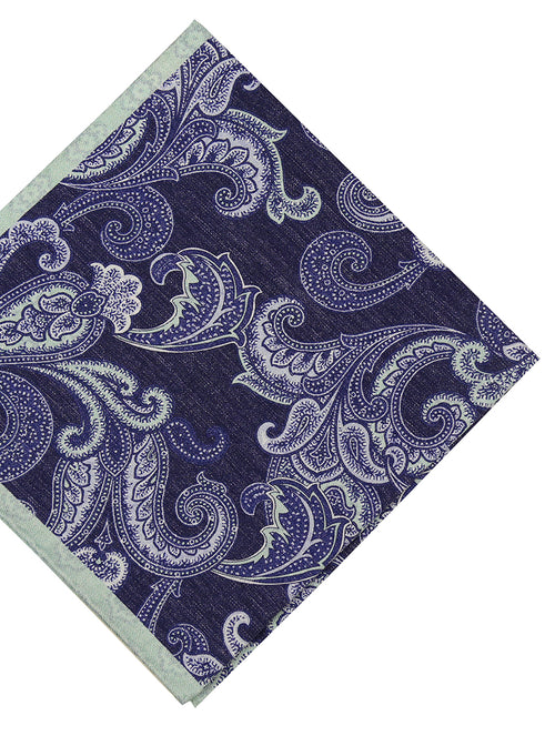 DÉCLIC Teneb Paisley Pocket Square - Navy/Mint