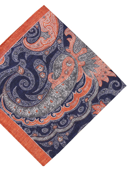 DÉCLIC Ose Paisley Pocket Square - Navy/Orange