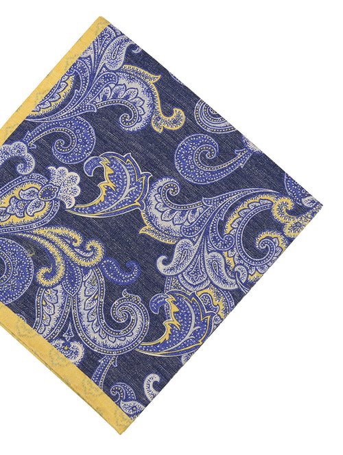 DÉCLIC Teneb Paisley Pocket Square - Navy/Yellow
