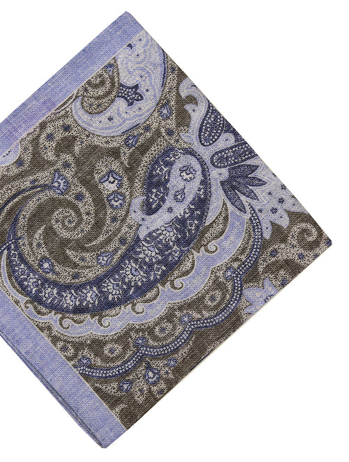DÉCLIC Ose Paisley Pocket Square - Olive/Blue