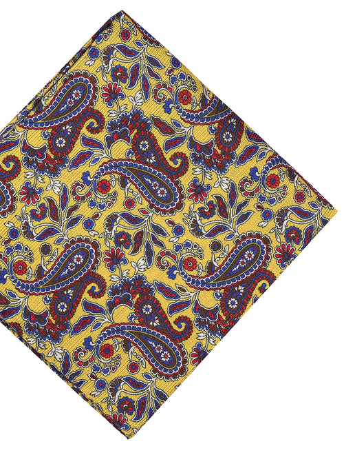 DÉCLIC Gravira Paisley Pocket Square - Yellow