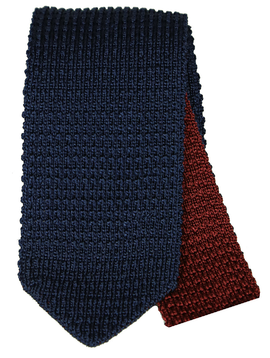 DÉCLIC Woven Reversible Tie - Navy/Burgundy
