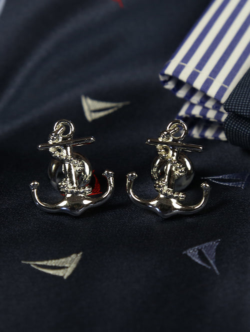 DÉCLIC Anchor Cufflink - Sterling Silver