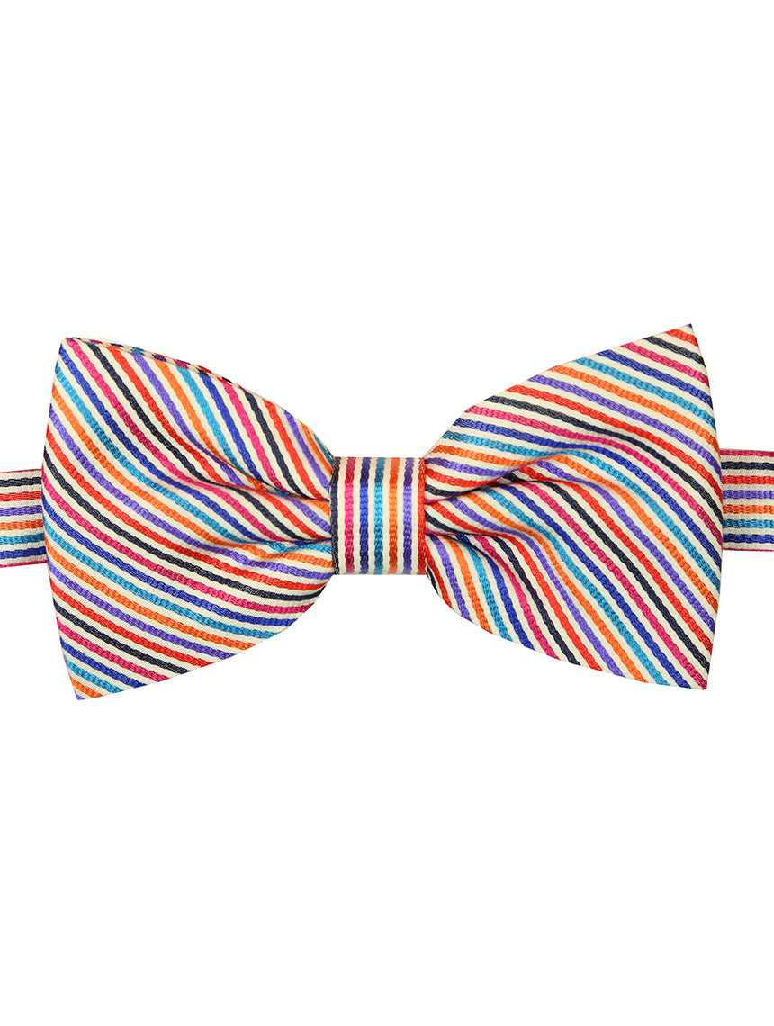 DÉCLIC Raide Stripe Bow Tie - White/Assorted
