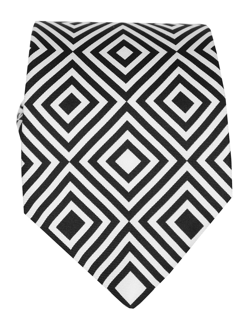 DÉCLIC Lacis Pattern Tie - Black/White