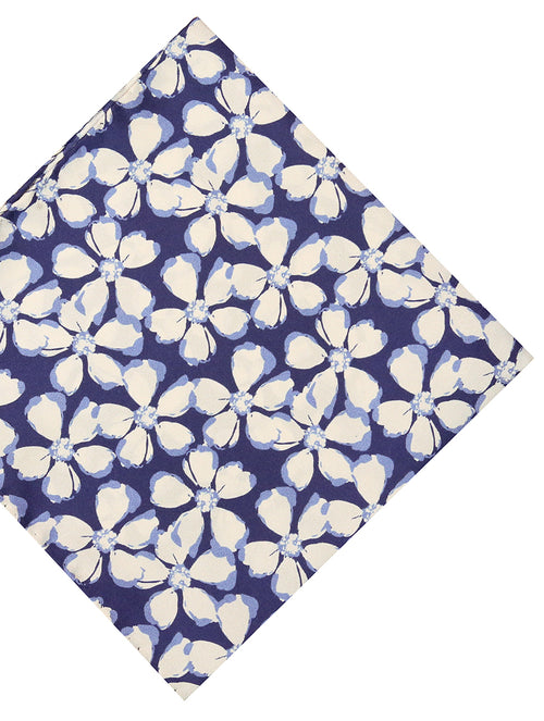 DÉCLIC Hibiscus Stamp Floral Hanky - Navy