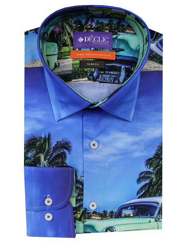 DÉCLIC Motion Print Shirt - Blue