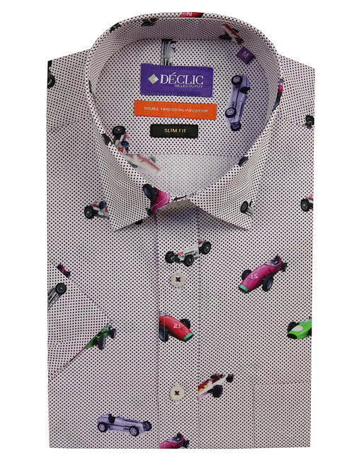 DÉCLIC Vintage Car Spot Short Sleeve Print Shirt - Assorted