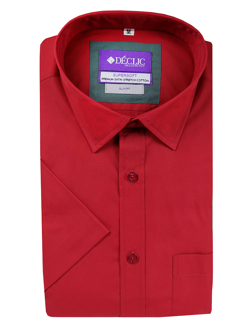 DÉCLIC Koral Plain Short Sleeve Shirt - Red