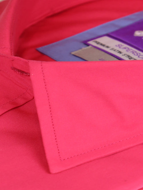 DÉCLIC Koral Plain Short Sleeve Shirt - Fuschia