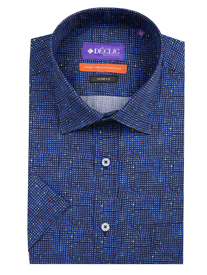 DÉCLIC Blocco Short Sleeve Print Shirt - Blue