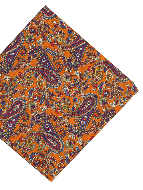 DÉCLIC Gravira Paisley Pocket Square - Orange