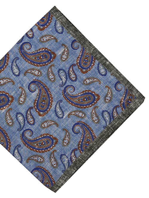 DÉCLIC Vide Paisley Pocket Square - Blue