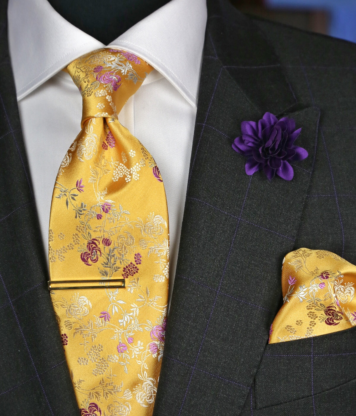 DÉCLIC Finera Floral Pocket Square - Yellow